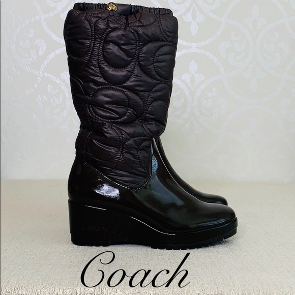 COACH SIGNATURE BROWN WEDGE BOOT SIZE 7.5